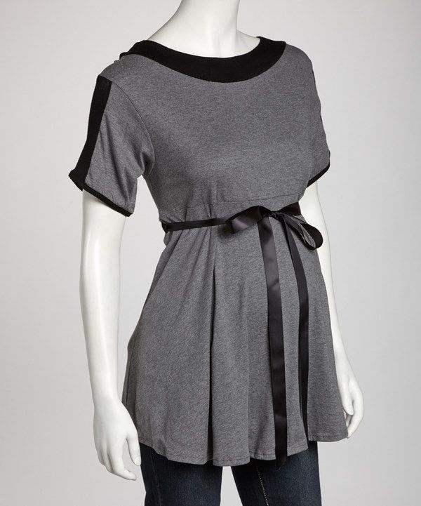 Take a look at this Gray & Black Bow Maternity Short-Sleeve Top on zulily today!
