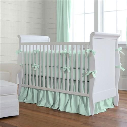 Solid Mint Crib Bedding and Nursery by Carousel Designs.
