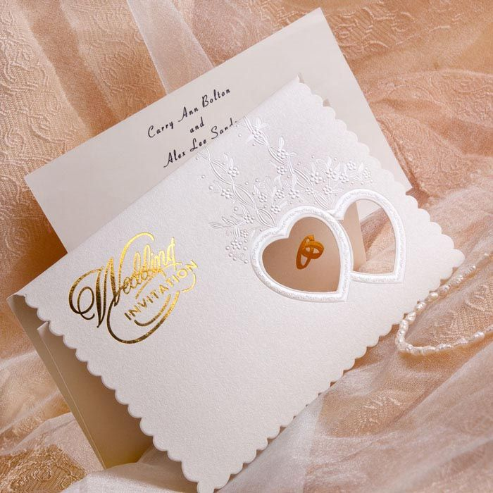 gold and white wedding invitations%0A Elegant Two Hearts And Rings Folded Wedding Invitations IWZD     Wedding  Invitations Online  InvitesWeddings com