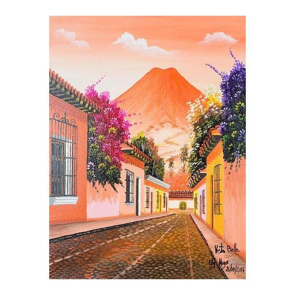 Novica Signed Street Scene Of Antigua Guatemala In Oils On Canvas 220 Bgn Liked On Polyvore Fe Landscape Art Painting Mexican Paintings Mexican Culture Art