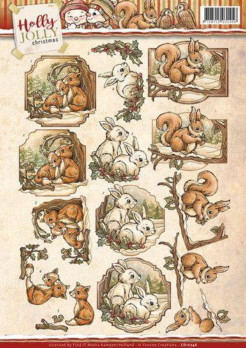 Card Deco - 3D-knipvel - Yvonne Creations - Holly Jolly - Animals