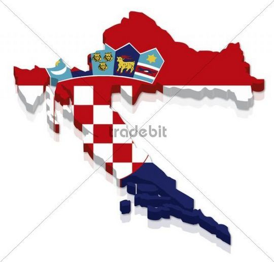 Shape and national flag of Croatia 3D computer graphics