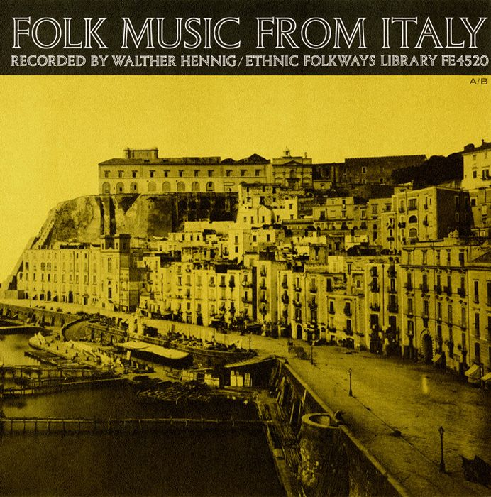 "12/18/12 ""Folk Music from Italy"" Country: Italy  Keyword: World music  Instrument(s): Accordion; Bagpipe; Brocca; Cornamusa; Flute; Guitar; Marranzanu; Organetto; Piffaro; Zampogna (Bagpipe); Zuffolo (Whistle)    Year of Recording: 1956  Record Label: Folkways Records  Source Archive: Smithsonian Center for Folklife and Cultural Heritage  Credits: Produced by Walther Hennig; Recorded by Walther Hennig; Design by Ronald Clyne"