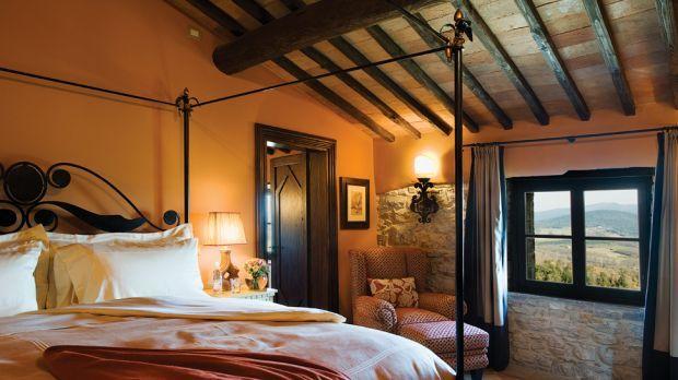 Tuscan Bedroom *I love the stone wall*