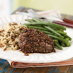 Pepper and Garlic-Crusted Tenderloin Steaks with Port Sauce Recipe