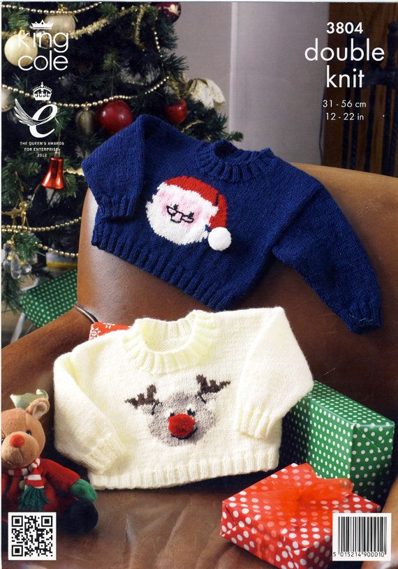 Christmas Jumpers Knitting Pattern for Babies. King Cole 3804 ~ Rudolph the R...