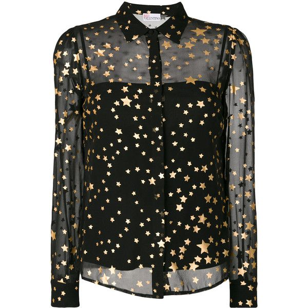 Red Valentino layered sheer gold foil star shirt ($695) ❤ liked on Polyvore featuring tops, black, red valentino top, gold foil shirt, transparent top, double layer shirt and star print shirt