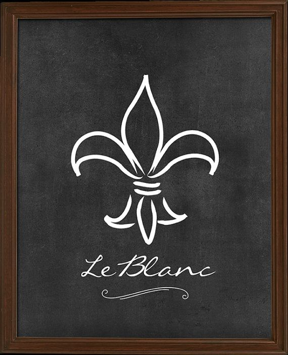 Fleur De Lis Chalkboard Print - personalized with your family name!