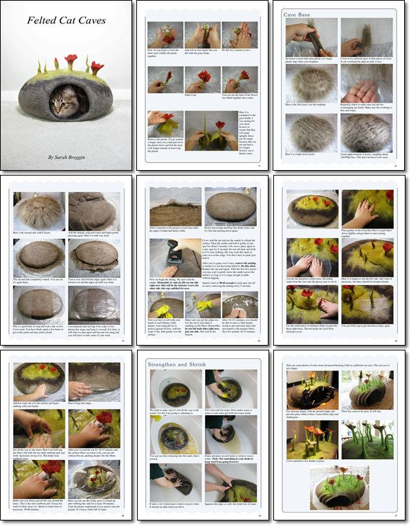 How to make Felted Cat Caves eBook tutorial pdf. $18.50, via Etsy.