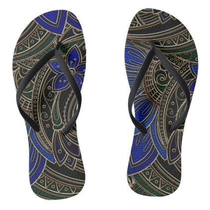 Faux  Leather  Oriental Floral Flip Flops - luxury gifts unique special diy cyo