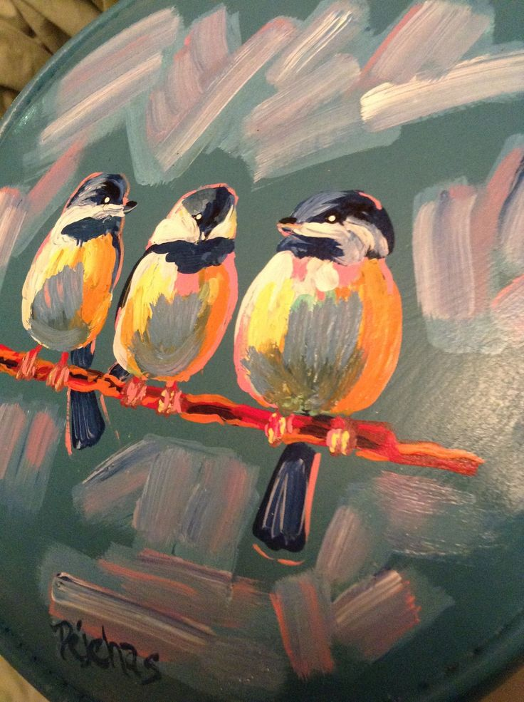 Three Little Birds Hand Painted Stool