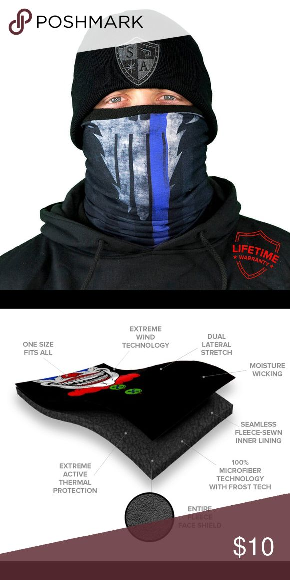 Thin blue line face shield Fleece lined, police appreciation face shield from SA Company. I bought a lot of these for my morning jogs but a leg injury has me sidelined for a while and there's some I didn't use. New in package SA Company Accessories Scarves & Wraps