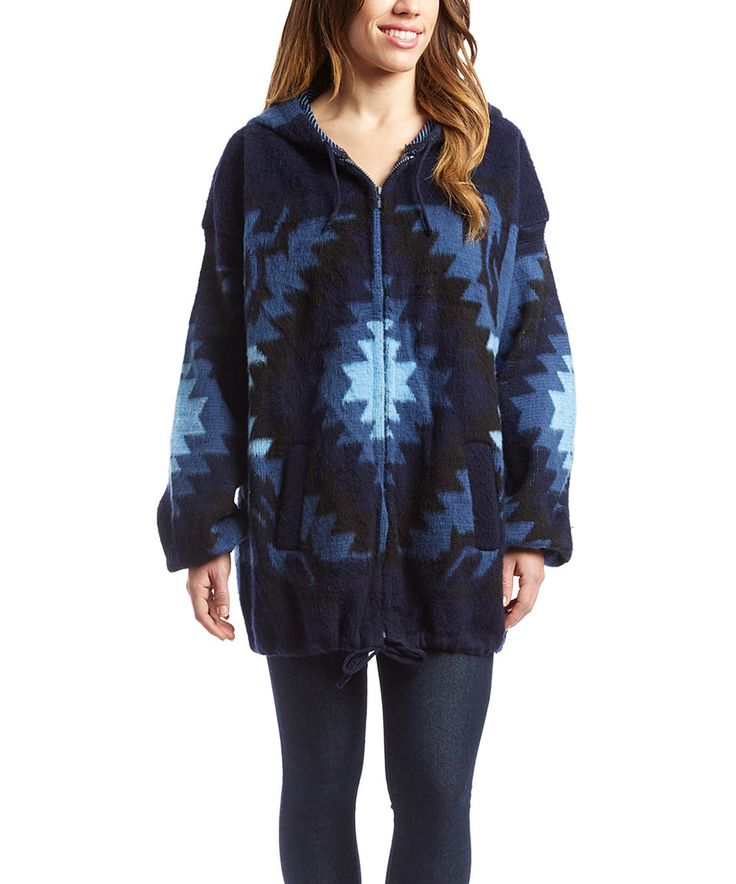 This EARTH RAGZ Southwest Blue Geo Wool-Blend Hoodie - Women by EARTH RAGZ is perfect! #zulilyfinds