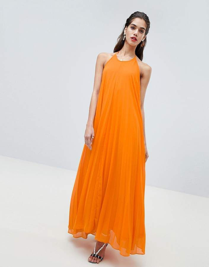 9280e6208a6dd Missguided #Pleated #Low #Back #Maxi #Dress #orange #shopstyle ...