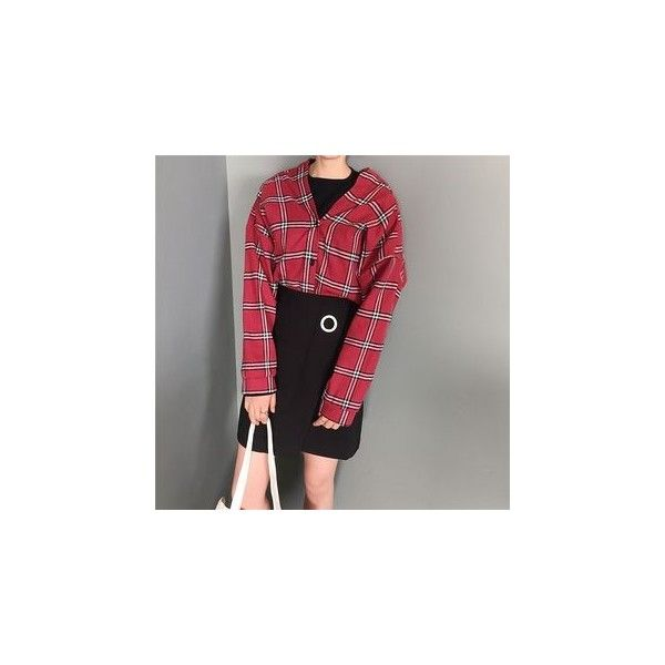 Plaid Open Placket Shirt (845 RUB) ❤ liked on Polyvore featuring tops, shirts, women, plaid shirts, tartan top, sleeved shirt, red plaid top and red cotton shirt
