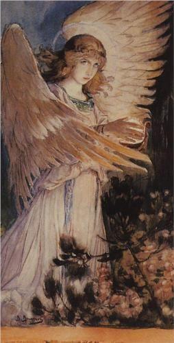 Angel with a lamp - Viktor Vasnetsov, 1885-1896Russian Artists, Angels Painting, Viktor Vasnetsov, 1885 1896, Angels Host, Vasnetsov Angels, Angels ʚįɞ, Guardian Angels, Angels Bend