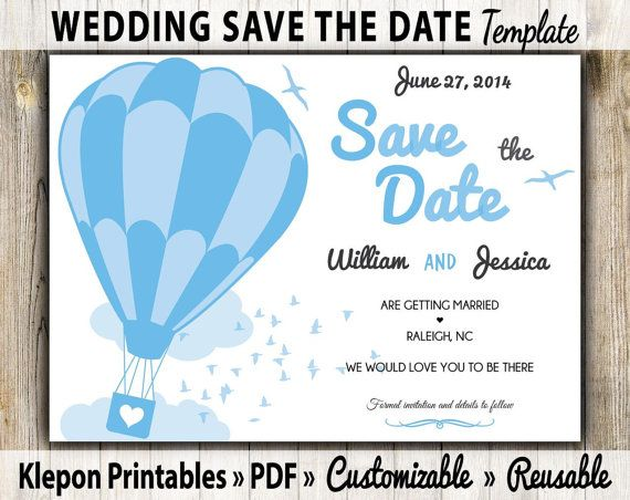 electronic save the date template - save the date wedding card hot air balloon theme digital