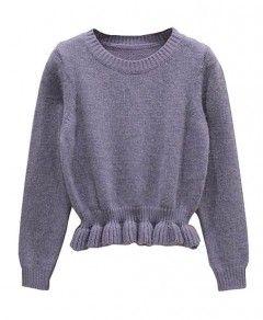 Pure Color Agaric Hem Pullover