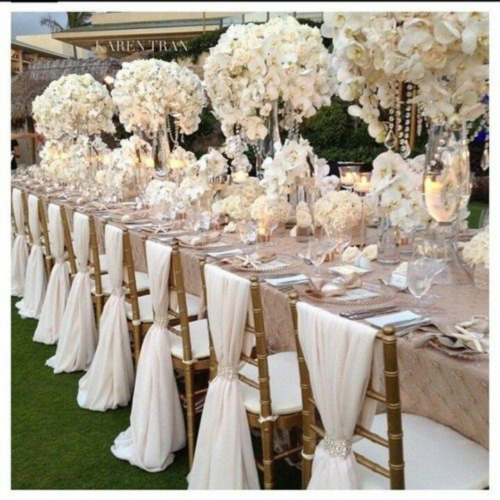 OCTOBER - Wedding ideas Beautiful dressed tables and instead of seat covers a silk drape on back of chairs