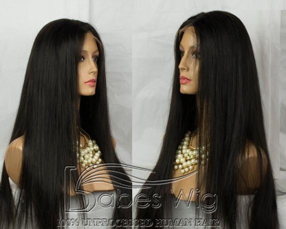 100% brasilianisches Menschenhaar glueless volle Spitzeperücken gerade lange schwarze Haarperücken Australien