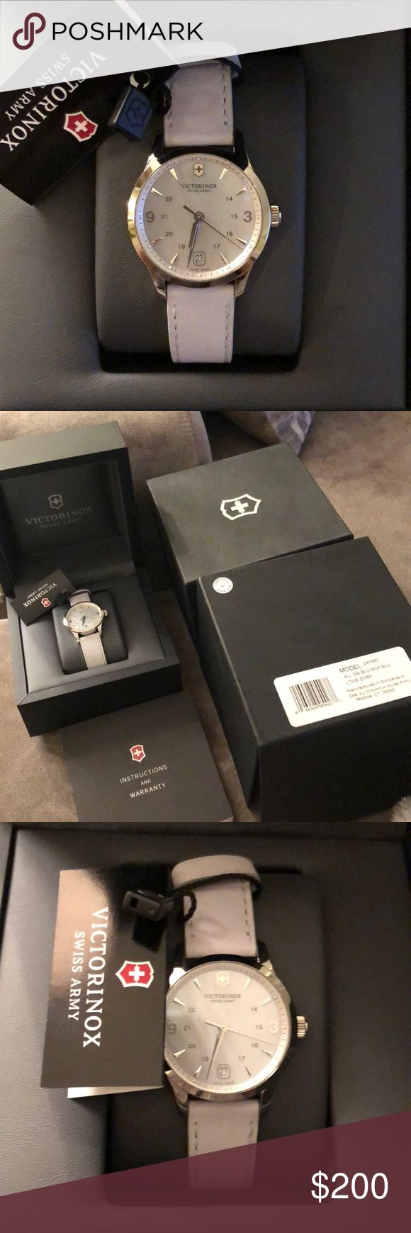 "Victorinox Swiss Army Women's Watch ""Alliance"" Mother of Pearl Dial Light Blue Leather Strap Swiss Quartz Watch See last picture for more info! Guaranteed Authentic! Beautiful Watch! Same watch with different straps selling for $495 on Swiss Army website  Hurry up and buy before I change my mind about selling!! 🙌🏼 Victorinox Accessories Watches"