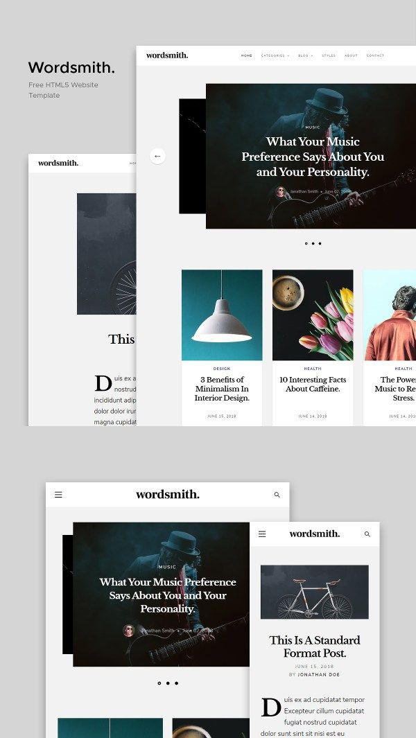Wordsmith Free Blogging Website Template Website Template Free Website Templates Free Blog