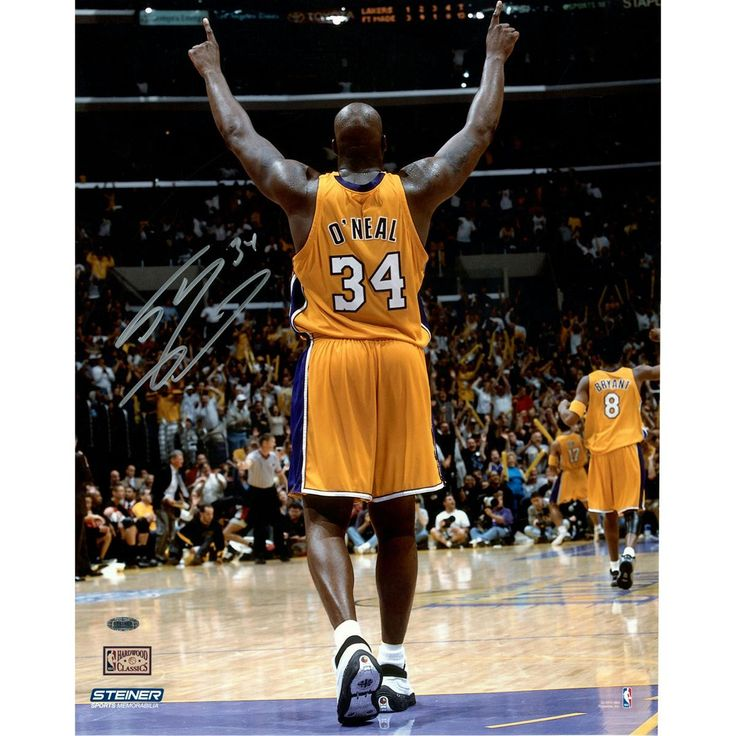 Shaquille ONeal Signed Arms Up in Gold Uniform 16x20 (Signed in Silver)