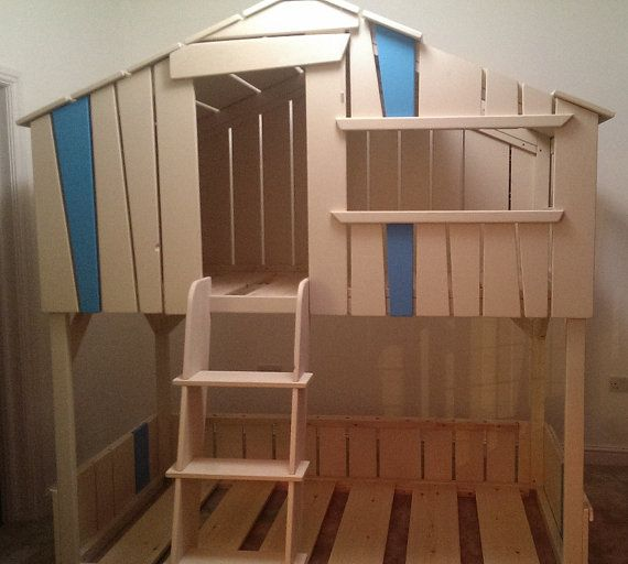 Kids Bed House High Sleeper Bed Etsy listing at https://www.etsy.com/listing/191414495/bunkbed-hand-made-playhouse-high-sleeper