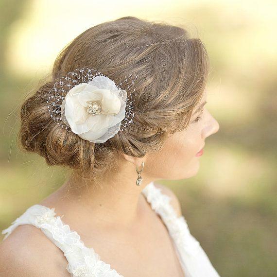 Fleur cheveux mariage morceau de cheveux Champagne par LeFlowers