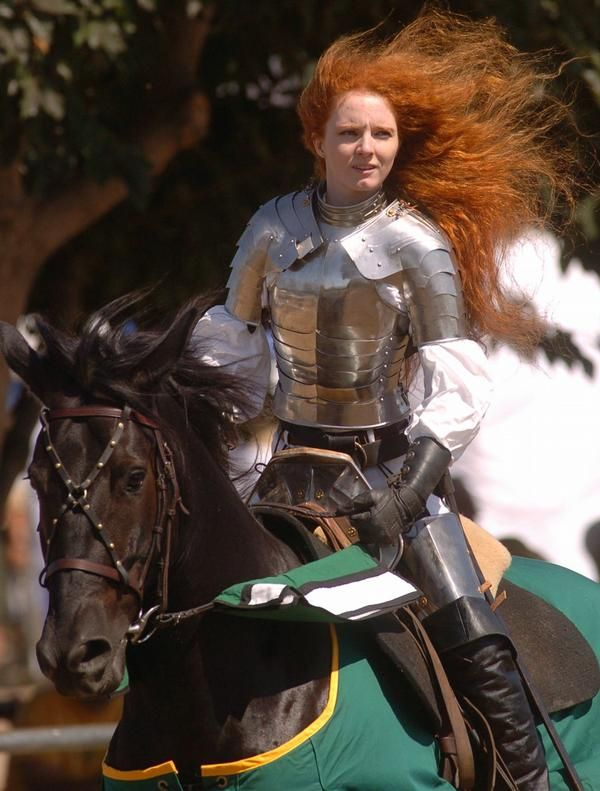 Virginia Hankins (actress playing Joan of Arc) is a genuine all-American female fighter, female stunt archer, mounted weapons trainer, jouster & professional lady knight.