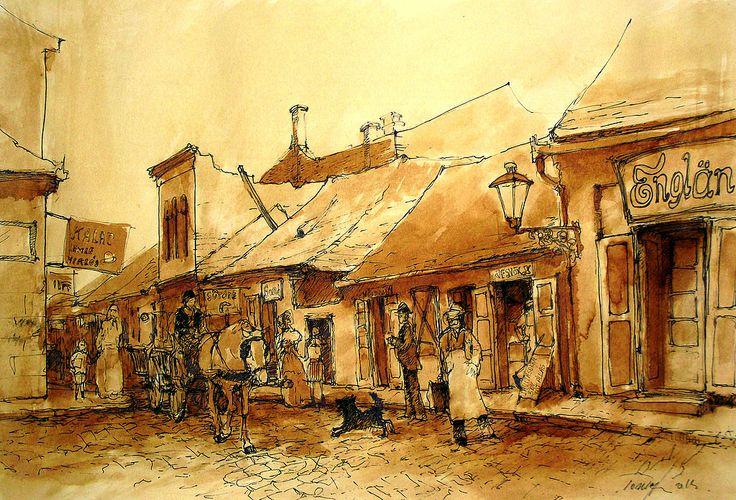Szeged , a régi Oroszlán utca . Páros oldal a Klauzál tér felől 1930 as évek Szeged, the old Lion Street. Even in 1930 from the page's background Klauzál.. Tus , diófapác , karton .. 29 x 42 cm