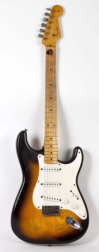 A Vintage 1954 Fender Stratocaster with a Maple Fretboard.