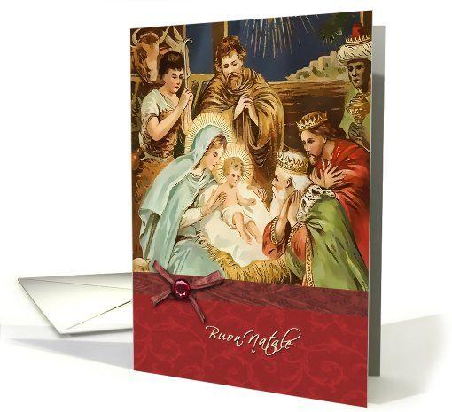 buon natale, italian merry christmas card, nativity, magi, ,jesus,bow-ribbon effect card