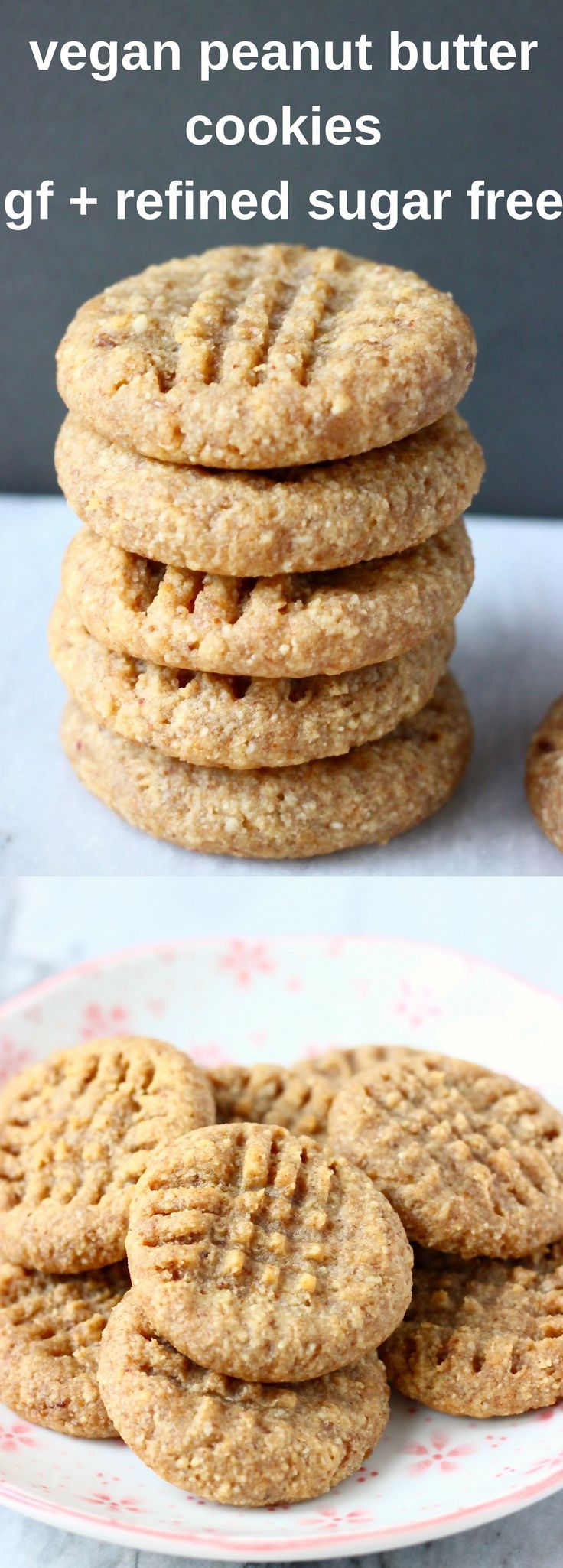 These Gluten-Free Vegan Peanut Butter Cookies are soft and chewy, perfectly salty-sweet and naturally sweetened! Egg-free, grain-free and refined sugar free. #vegan #glutenfree #peanutbutter #cookies #plantbased #dairyfree #dessert