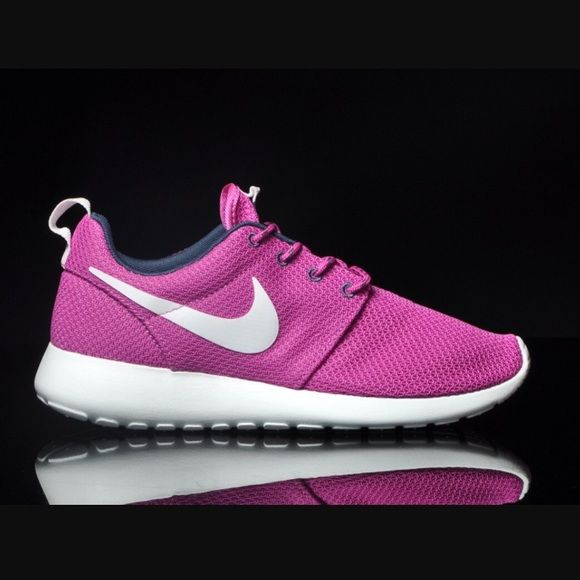 Nike Roshe Run NIB no lid. Size 6 women. Based on most customers, this style tends to run a half size large, so best for a size 6.5. Color: Club Pink/Summit White/Dark Armory Blue/Volt. Price is firm. No trades. Nike Shoes Sneakers
