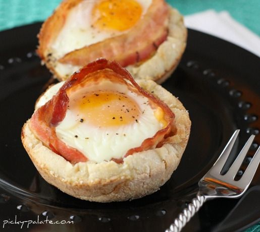 Bacon and Cheese Egg McMuffin Cups—It's baked in a muffin tin so you can make a bunch at a time. So smart! Great way to feed a crowd on the go.