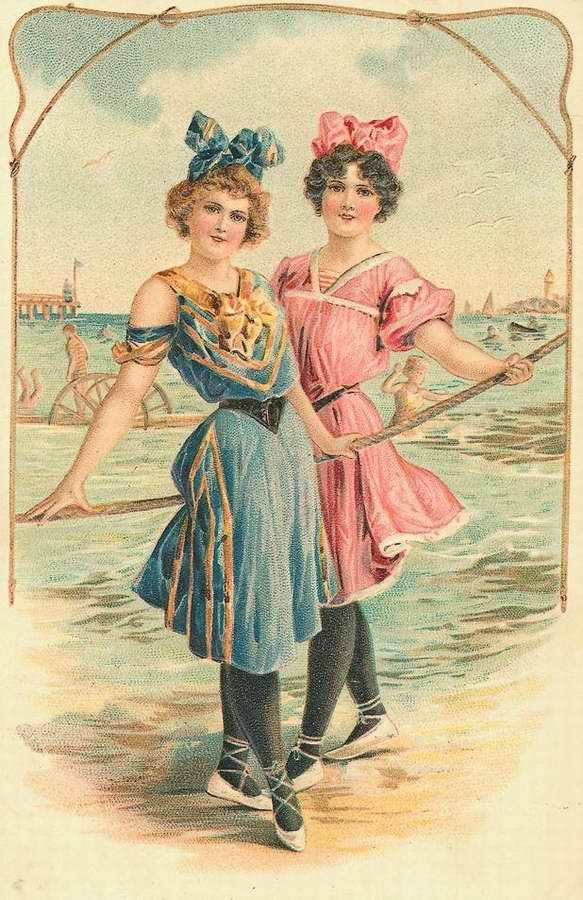 Ladies at the Seashore    Wonderful collection of vintage copyright free photographs, also
