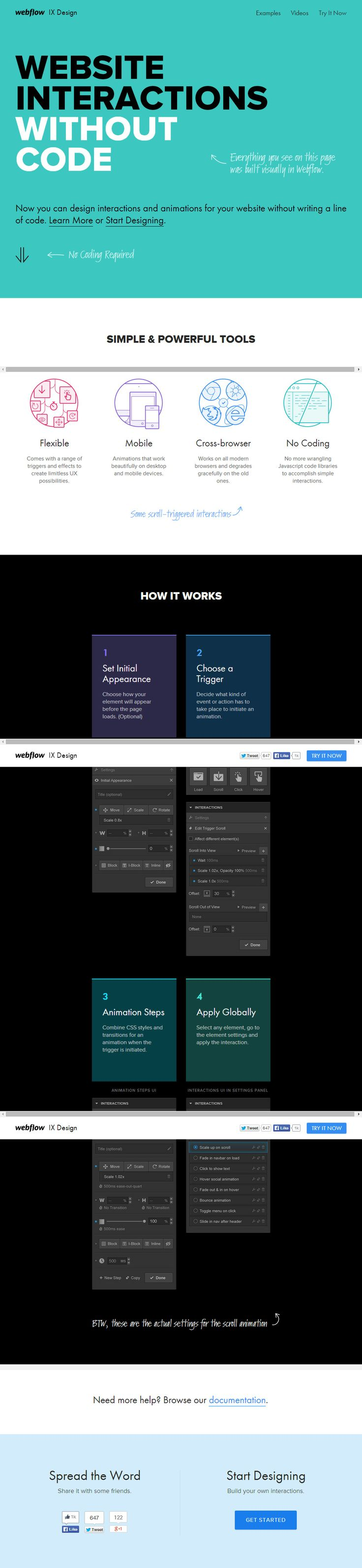 Webflow Interactions - create beautiful interactions and animations without messing with Javascript or jQuery.