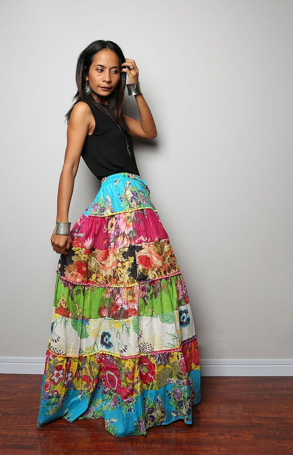 Maxi skirt / Patchwork Skirt  Boho Patchwork Collection by Nuichan, $59.00
