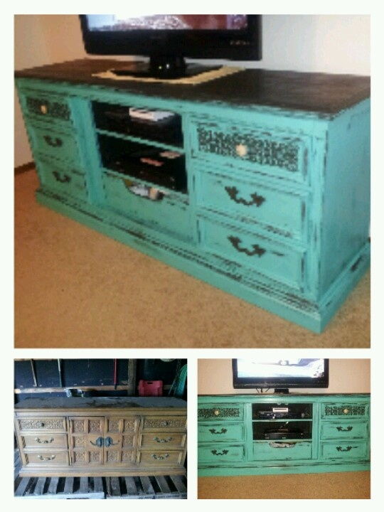 Distressed Dresser To Tv Stand.