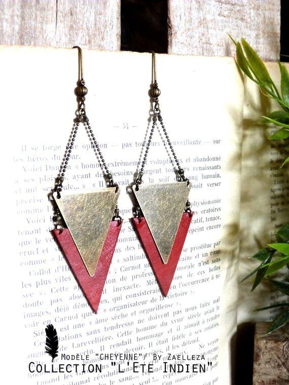 """Boucle d'oreille CHEYENNE triangle cuir rouge Carmin - Collection 2014/2015 """"L'été Indien"""""""