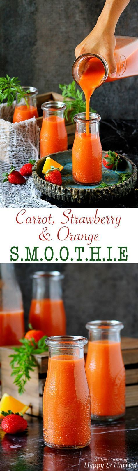 CARROT, STRAWBERRY & ORANGE SMOOTHIE - HAPPY&HARRIED. Get your daily dose of vitamins with this colorful, healthy and delicious carrot-strawberry-orange smoothie! #happyandharried #smoothie #carrot #strawberry #orange #recipe