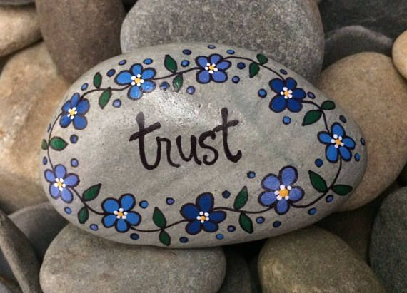 Happy Rock  Trust  Hand-Painted Beach Rock Stone  blue