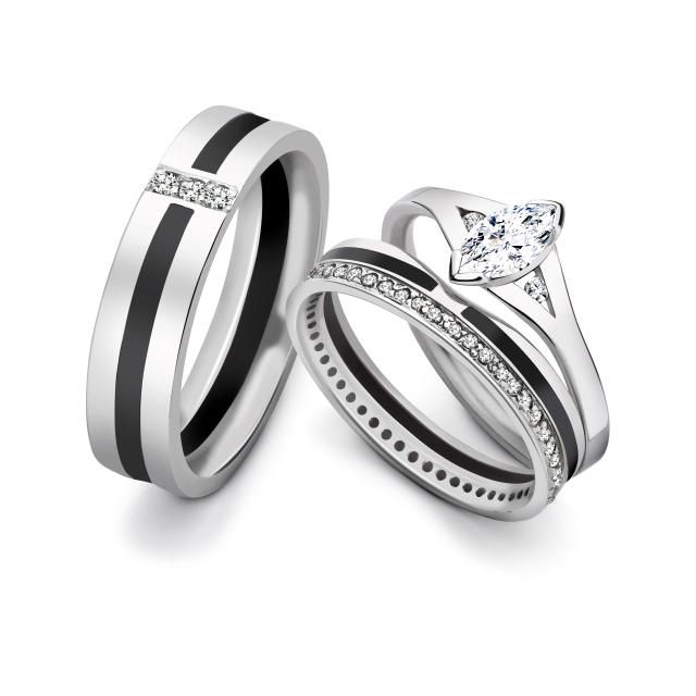 13 Magical Looking Marquise Cut Engagement Rings: Engagement Ring with Wedding Bands . . .