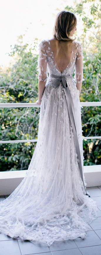 Dove gray wedding gown with sheer sleeves