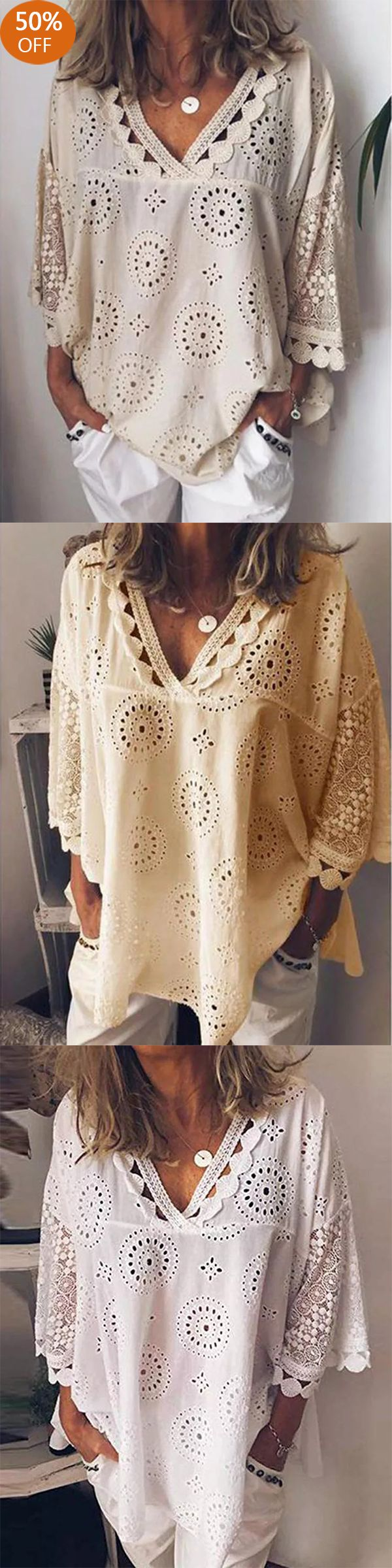 Casual Hollow V-Neck Loose Blouse