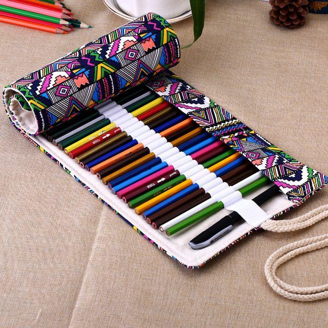 Caixa de lápis rolo 36/48/72 Buracos escova pen bolsa para estudantes Retro Lona artista Maquiagem escola escritório saco de artigos de papelaria criativa