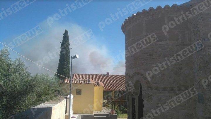Δίπλα στα σπίτια η πυρκαγιά στην Αμαλιάδα - ΦΩΤΟ