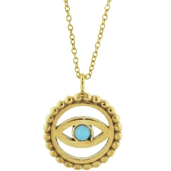 IaM by Ileana Makri Turquoise and Gold Evil Eye Necklace (£65) ❤ liked on Polyvore featuring jewelry, necklaces, gold, 14k gold pendants, gold necklace, 14k gold necklace, gold evil eye necklace and 14k yellow gold pendant