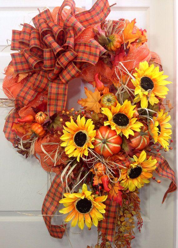 Fall Wreath, Mesh Wreath, Autumn, Sunflowers
